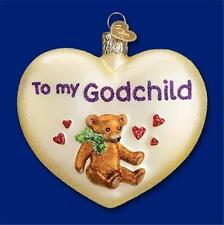 To My Godchild Teddy Bear Heart Old World Christmas Glass Ornament Nwt 30045