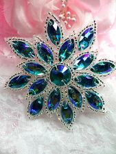 N19 Turquoise Silver Glass Rhinestone Applique Snowflake Floral Beaded Patch