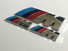 BMW Chrome M Sport M Power Badge Set (2 x Small Wings & 1 x Trunk Badge) Emblem