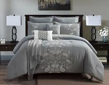 8 Piece Luxury Quilted Embroidered Comforter Set Bed In A Bag,King Size, Grey