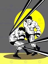 Ilustración de pintura de boxeo de deporte Punch Cuerdas lucha Gancho Poster Print BMP11355