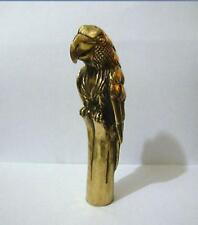 Asian Chinese old Bronze Carved lifelike parrot Statue Walking Stick Cane Head