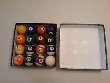 "New listing 1 7/8"" 47.5mm Billiards Pool Table 1-15 & White Cue Balls Box Set"
