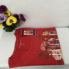 Lucky Brand Women's Red Graphic Tee Logo Floral, Choose size&color, NWT