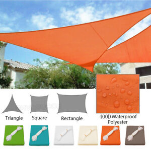 Sun Shade Sail Outdoor Pool Patio Canopy Top Cover Triangle Rectangle UV Block