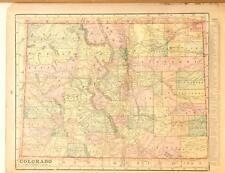 Beautiful Original 1899 Colorado Large Color Map/10x14