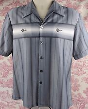 Triumph Mens Shirt Short Sleeve Button Front Lounge Gray 100% Polyester Large