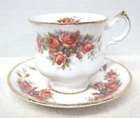 Paragon Elizabeth Rose w Gold Tea Cup and Saucer Bone China Stunning Great Shape