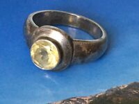 Vintage 70s Mid century Sterling Silver CITRINE Minimalist Brutalist Ring Sz O