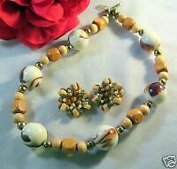Earth Tone Chunky Beaded Necklace Earrings CAT RESCUE