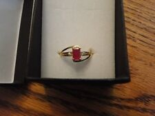 NIB RING W/ 0.75CTW GENUINE CLEAN DIAMONS AND RUBY YELLOW GOLD SIZE 7
