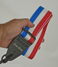 Guitar Strap RED WHITE BLUE Nylon Acoustics & Electrics Made in USA Since 1