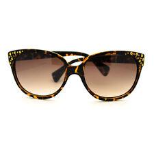 Gold Studded High Point Oversized Cat Eye Sunglasses - Tortoise