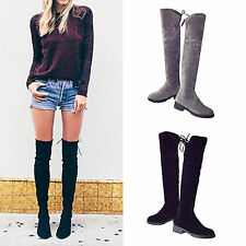 Womens Suede Over The Knee Boots Ladies Block High Heel Lace Thigh Stretch Shoes
