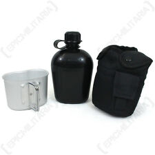 Black Water Bottle With Cup and Cover - 1L Canteen Army Military Cadets Webbing