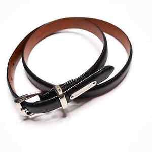 RALPH LAUREN Women's Size M Black Leather Silver Hardware Skinny Belt