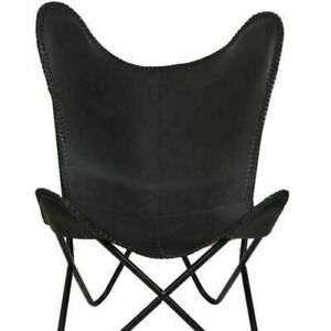 Vintage Retro Black Leather Classic Butterfly chair Handmade Rustic and comforta