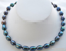 """Peacock Pearl Necklase 18"""" w/ Sterling Silver Clasp 8-9mm"""