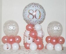 80th Birthday -Rose Gold -3 Pack Party Set -Table Balloon Decoration Display Kit