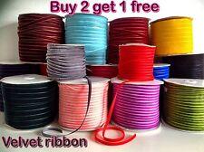 VELVET RIBBON BUY 2 GET 1 FREE 5mm-25mm 1-5M velveteen for chocker necklace gift