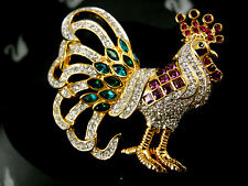 SIGNED SWAROVSKI  CRYSTAL ROOSTER  PIN ~ BROOCH RETIRED NEW