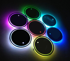 New 2Pcs USB Charge 7 Colors RGB LED Car Cup Holder Bottom Pad Atmosphere Light
