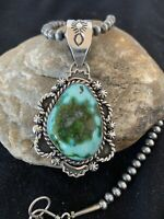 Sterling Silver Necklace Native America NAVAJO SONORAN GOLD TURQUOISE Pendant686