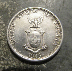 1945-S Silver Philippines 50 Centavos