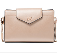 NWT Michael Kors SofT Pink  Crossgrain Leather Crossbody Clutch Handbag $228