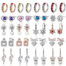 New Fashion Leaf Flower Ear Stud Zircon Crystal Earrings Women Ear Clip Jewelry
