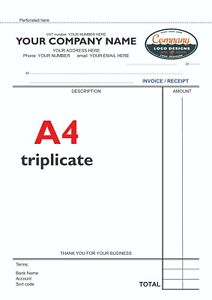 50 Personalised A4 Triplicate NCR Invoices in a Book / Sales Book / Work Book