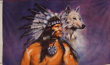 Native American Flag And Wolf Flag - New 3 X 5 Polyester Indian Flag