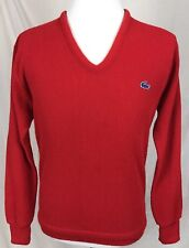 Vintage Izod Lacoste V-Neck Sweater Men's Large Acrylic Red Roll Sleeves A3