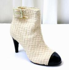 CHANEL Womens Ivory Tweed+Black High-Heel Cap-Toe Ankle-Boot Bootie 9-39 NEW