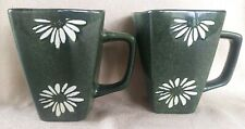 (2) Square Mugs Hunter Green and White Daisy Flower Floral Coffee Cup 10oz Flomo