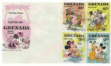 Grenada Disney Fdc Easter 1981(4) & Souvenir Sheet - 2 Covers- Di 5411