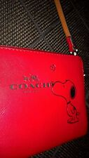 COACH X PEANUTS Snoopy Corner Zip Wristlet ~ RED Leather Wallet Purse Bag, GIFT!