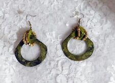 "Pierced - Hooks - Apprx 2 1/2"" Nature Inspired Mixed Media Earrings - Handmade -"