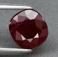 Ruby 1.63ct / Red I1 Clarity 7.4x6.8mm Cushion Cut Natural Heated Madagascar