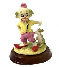 Clown Figurine With Dog Pulling On Pants On Wood Stand *Rare* By Leonardo