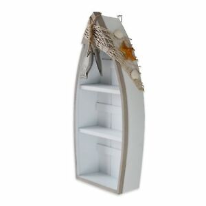 Beach Theme Display Boat with 3 Shelves with Small Fish Star Fish Sea Shell