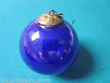 Kugel France Antique Genuine Christmas ornament handblown glass cobalt blue 2 1/