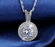 BEAUTIFUL PENDANT NECKLACE 1.25 CT CZ ZIRCON PLATINUM PLATED- 70% OFF -FREE SHIP