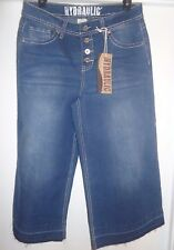 NWT Women's Hydraulic Distressed Flared Wide Leg Capris Jeans 4 Button Fly Sz 12