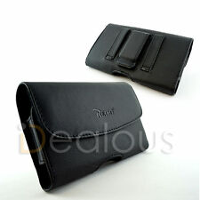 For Samsung Galaxy S8+ Black Leather Holster Pouch Case Belt Clip w/ Bulky Case