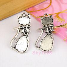 10Pcs Tibetan Silver Cat Charms Pendants 12x29mm LA309