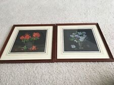 Set of Two Pictures in Wooden Frames - Vase / flower theme - 32cm x 33cm