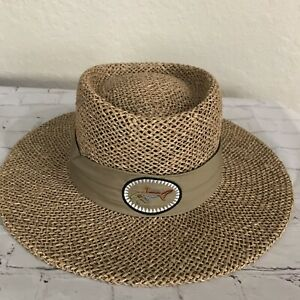 """Greg Norman Straw Hat """"The Shark"""" Men's One Size Tan With Band"""
