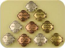 2 Hole Beads Serenity Prayer Engraved Quatrefoil 3T Metal Sliders ~ QTY 10