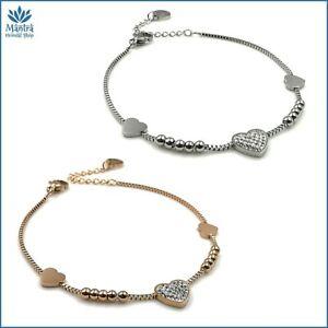 Bracciale da donna braccialetto con cuore in acciaio inox zirconi bianchi per a